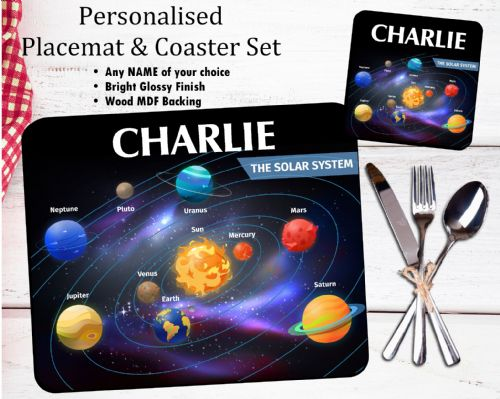 Personalised Kids Table Placemat & Coaster Set N41 - Solar System Design